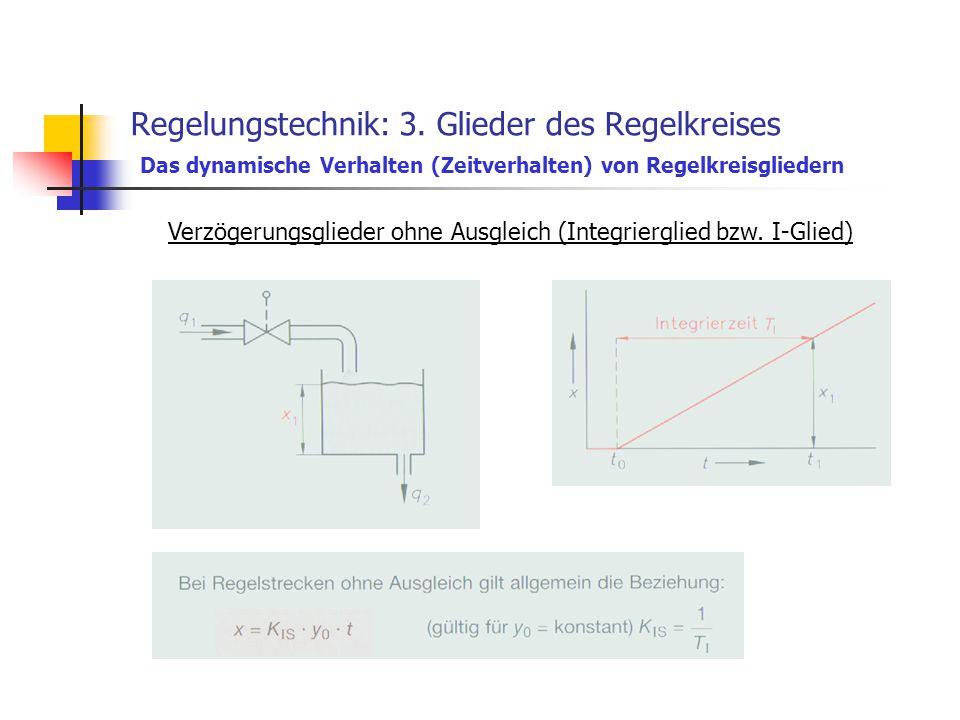 Regelungstechnik: 3. Glieder des Regelkreises Das dynamische Verhalten (Zeitverhalten) von Regelkreisgliedern Verzögerungsglieder ohne Ausgleich (Inte