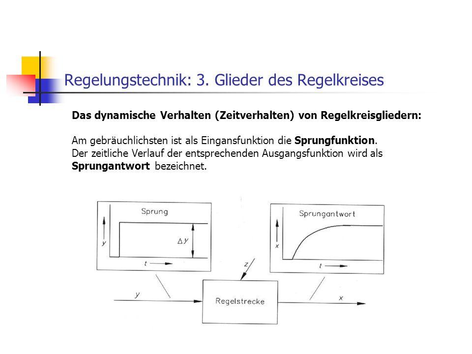 Regelungstechnik: 3. Glieder des Regelkreises Das dynamische Verhalten (Zeitverhalten) von Regelkreisgliedern: Am gebräuchlichsten ist als Eingansfunk