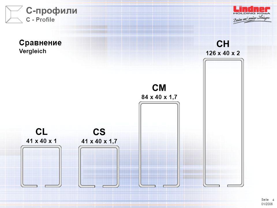 Seite 01/2006 4 Сравнение Vergleich CL 41 x 40 x 1 CM 84 x 40 x 1,7 CH 126 x 40 x 2 С-профили C - Profile CS 41 x 40 x 1,7
