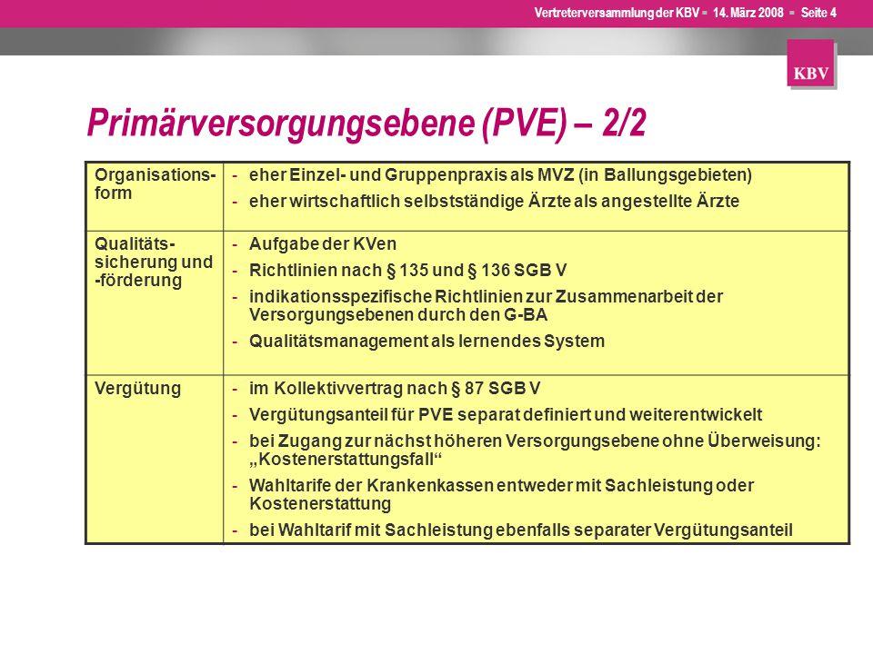 Vertreterversammlung der KBV  14. März 2008  Seite 4 Primärversorgungsebene (PVE) – 2/2 Organisations- form -eher Einzel- und Gruppenpraxis als MVZ