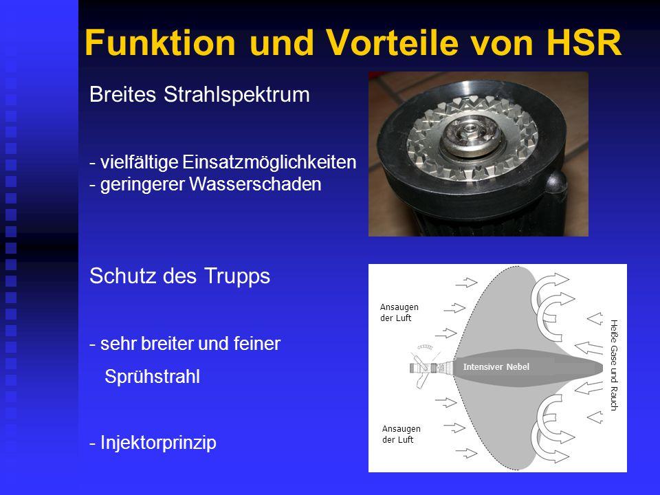 Funktion und Vorteile von HSR Breites Strahlspektrum - vielfältige Einsatzmöglichkeiten - geringerer Wasserschaden Schutz des Trupps - sehr breiter und feiner Sprühstrahl - Injektorprinzip Ansaugen der Luft Intensiver Nebel Heiße Gase und Rauch