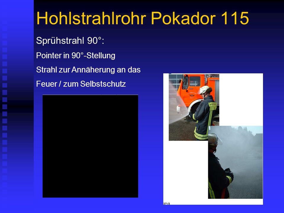 Hohlstrahlrohr Pokador 115 Sprühstrahl 90°: Pointer in 90°-Stellung Strahl zur Annäherung an das Feuer / zum Selbstschutz
