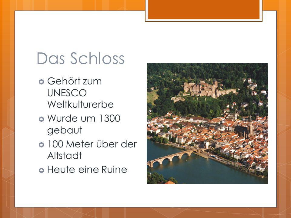 Das Schloss  Gehört zum UNESCO Weltkulturerbe  Wurde um 1300 gebaut  100 Meter über der Altstadt  Heute eine Ruine