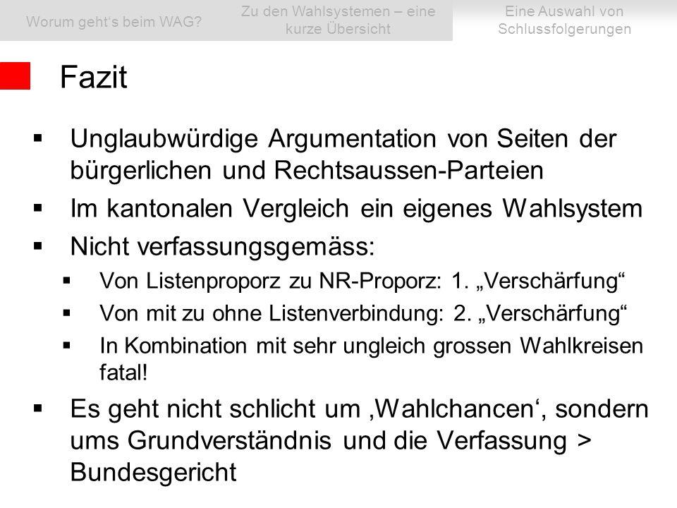  Unglaubwürdige Argumentation von Seiten der bürgerlichen und Rechtsaussen-Parteien  Im kantonalen Vergleich ein eigenes Wahlsystem  Nicht verfassungsgemäss:  Von Listenproporz zu NR-Proporz: 1.