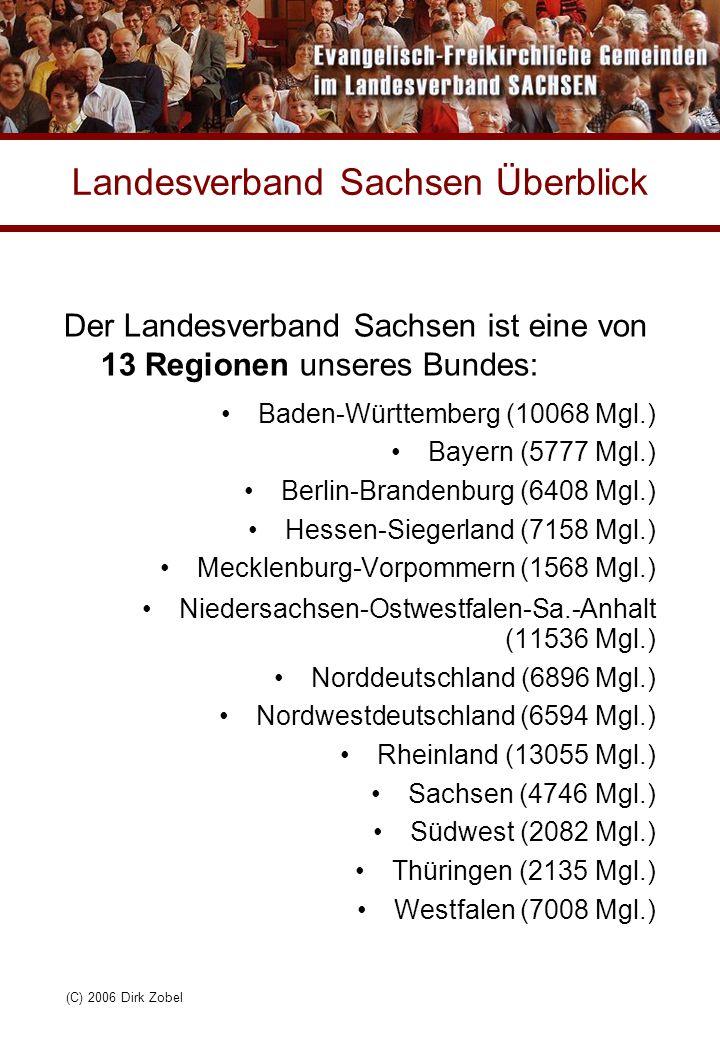 (C) 2006 Dirk Zobel Landesverband Sachsen Überblick Der Landesverband Sachsen ist eine von 13 Regionen unseres Bundes: Baden-Württemberg (10068 Mgl.) Bayern (5777 Mgl.) Berlin-Brandenburg (6408 Mgl.) Hessen-Siegerland (7158 Mgl.) Mecklenburg-Vorpommern (1568 Mgl.) Niedersachsen-Ostwestfalen-Sa.-Anhalt (11536 Mgl.) Norddeutschland (6896 Mgl.) Nordwestdeutschland (6594 Mgl.) Rheinland (13055 Mgl.) Sachsen (4746 Mgl.) Südwest (2082 Mgl.) Thüringen (2135 Mgl.) Westfalen (7008 Mgl.)