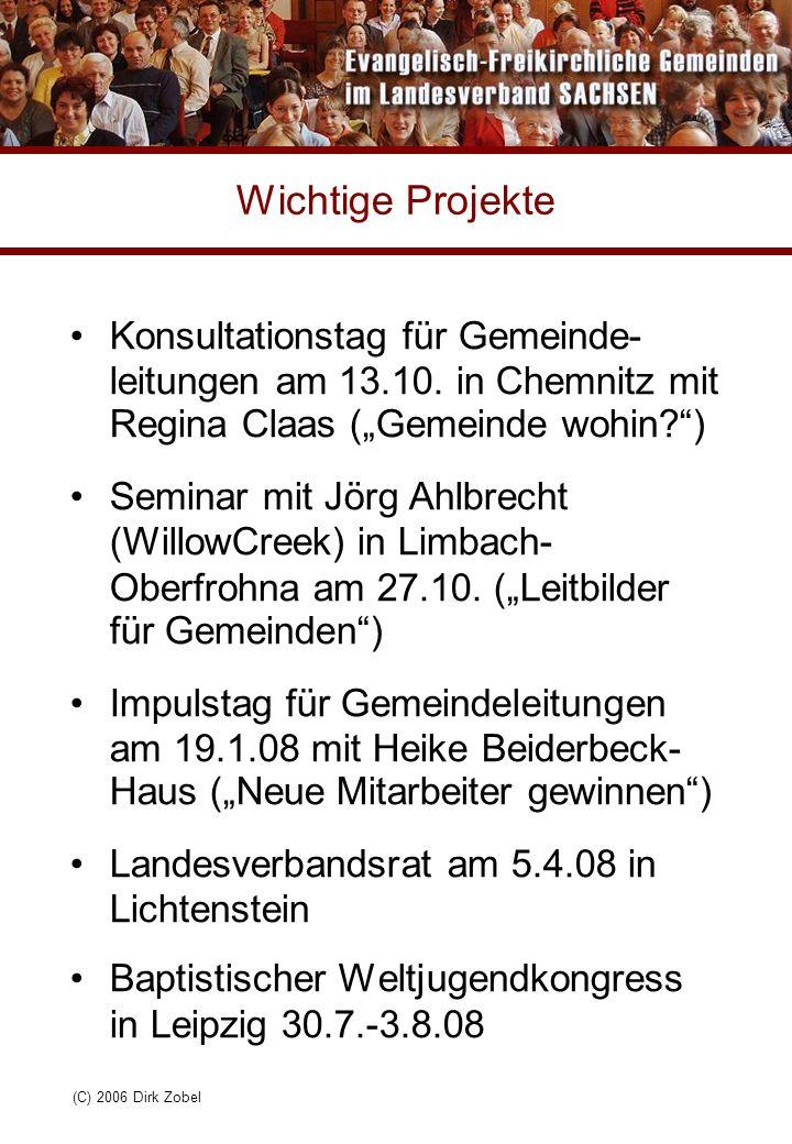"""(C) 2006 Dirk Zobel Wichtige Projekte Konsultationstag für Gemeinde- leitungen am 13.10. in Chemnitz mit Regina Claas (""""Gemeinde wohin?"""") Seminar mit"""