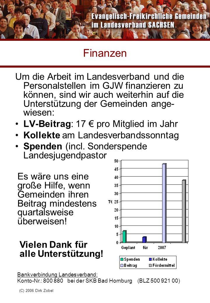 (C) 2006 Dirk Zobel Finanzen Um die Arbeit im Landesverband und die Personalstellen im GJW finanzieren zu können, sind wir auch weiterhin auf die Unte