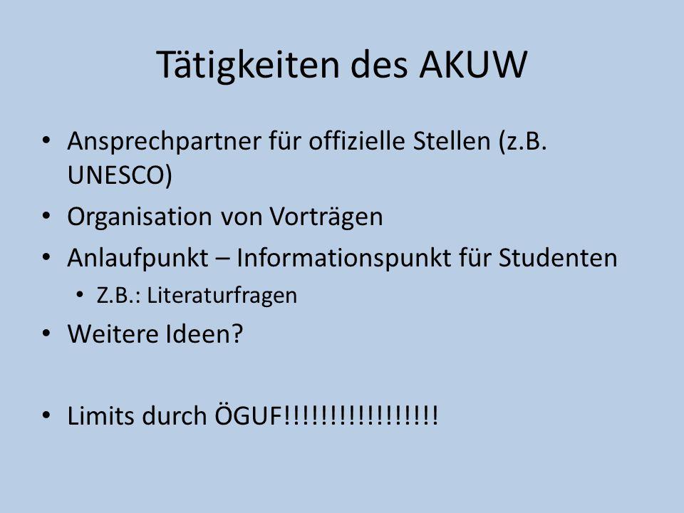 Tätigkeiten des AKUW Ansprechpartner für offizielle Stellen (z.B. UNESCO) Organisation von Vorträgen Anlaufpunkt – Informationspunkt für Studenten Z.B