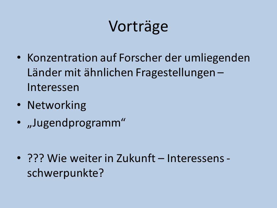 """Vorträge Konzentration auf Forscher der umliegenden Länder mit ähnlichen Fragestellungen – Interessen Networking """"Jugendprogramm"""" ??? Wie weiter in Zu"""
