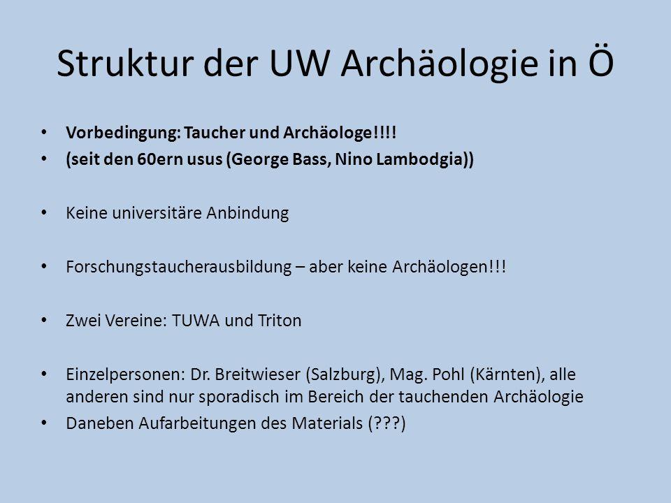Struktur der UW Archäologie in Ö Vorbedingung: Taucher und Archäologe!!!! (seit den 60ern usus (George Bass, Nino Lambodgia)) Keine universitäre Anbin