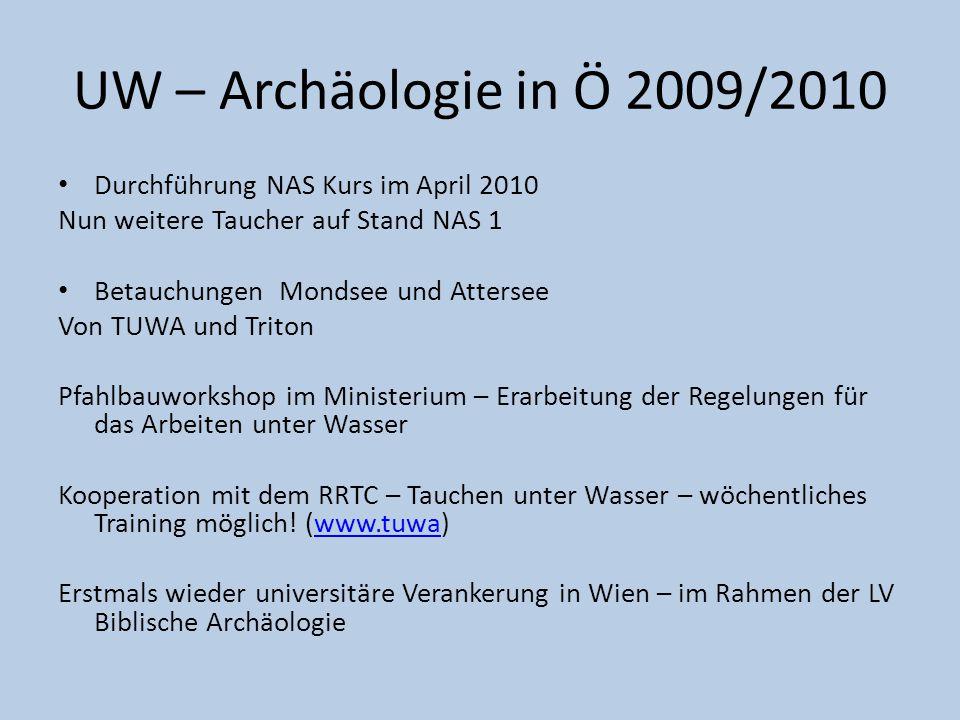 Publikationen: TUWA in der NAU In Vorbereitung: Schwarzer See (Vorarlberger Museumsblatt), Weyregg (?) Triton: www.palafittes.ch - Antragwww.palafittes.ch UW – Archäologie in Ö 2009/2010