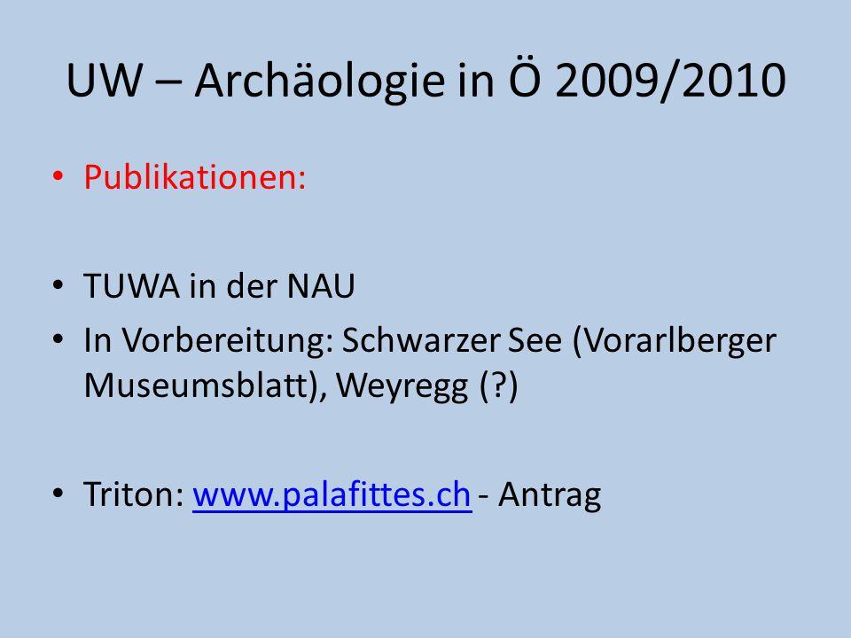Publikationen: TUWA in der NAU In Vorbereitung: Schwarzer See (Vorarlberger Museumsblatt), Weyregg (?) Triton: www.palafittes.ch - Antragwww.palafitte