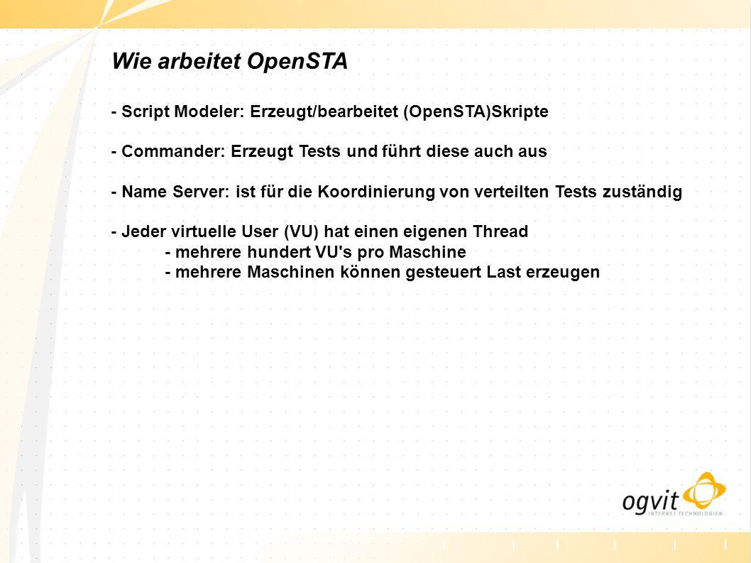 Wie arbeitet OpenSTA - Script Modeler: Erzeugt/bearbeitet (OpenSTA)Skripte - Commander: Erzeugt Tests und führt diese auch aus - Name Server: ist für die Koordinierung von verteilten Tests zuständig - Jeder virtuelle User (VU) hat einen eigenen Thread - mehrere hundert VU s pro Maschine - mehrere Maschinen können gesteuert Last erzeugen