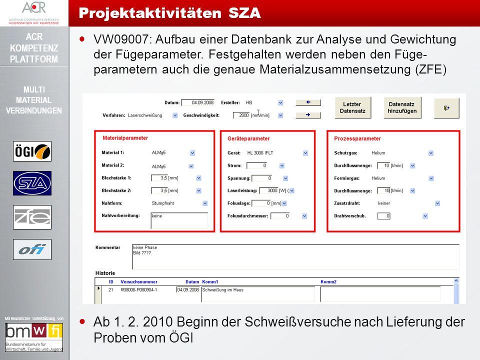 ACR KOMPETENZ PLATTFORM Mit freundlicher Unterstützung von MULTI MATERIAL VERBINDUNGEN VW09007: Aufbau einer Datenbank zur Analyse und Gewichtung der