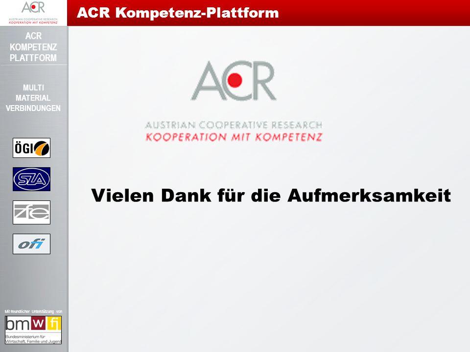 ACR KOMPETENZ PLATTFORM Mit freundlicher Unterstützung von MULTI MATERIAL VERBINDUNGEN ACR Kompetenz-Plattform Vielen Dank für die Aufmerksamkeit