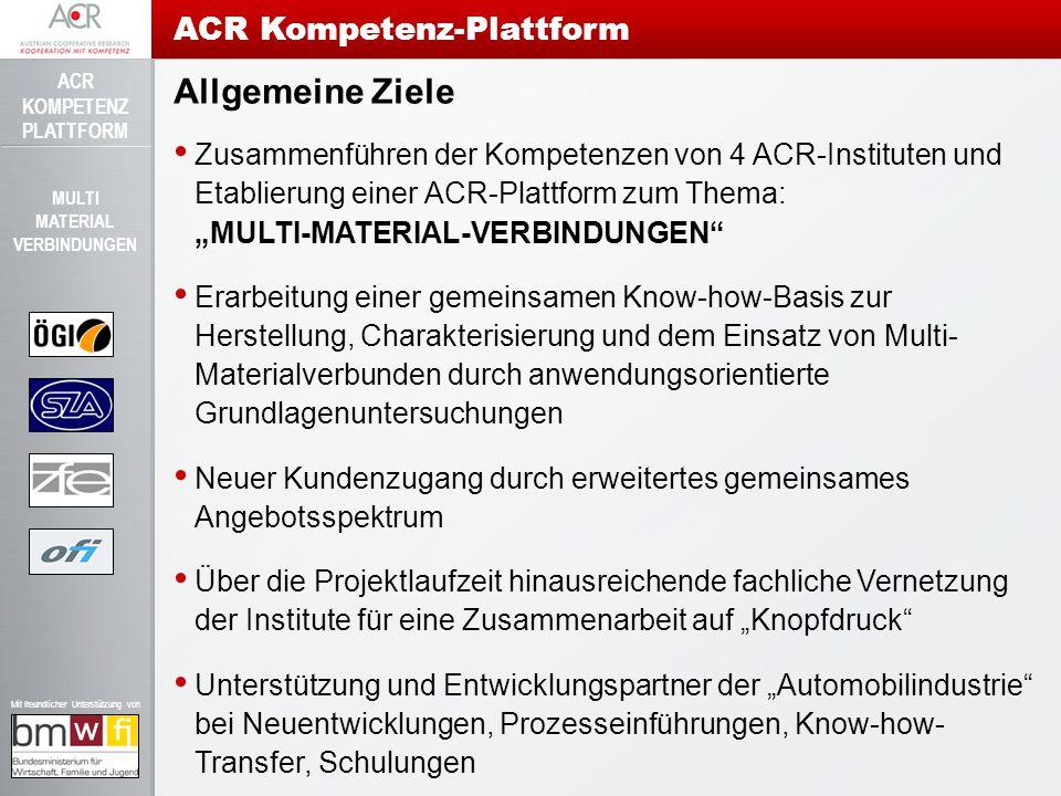 ACR KOMPETENZ PLATTFORM Mit freundlicher Unterstützung von MULTI MATERIAL VERBINDUNGEN Allgemeine Ziele Zusammenführen der Kompetenzen von 4 ACR-Insti