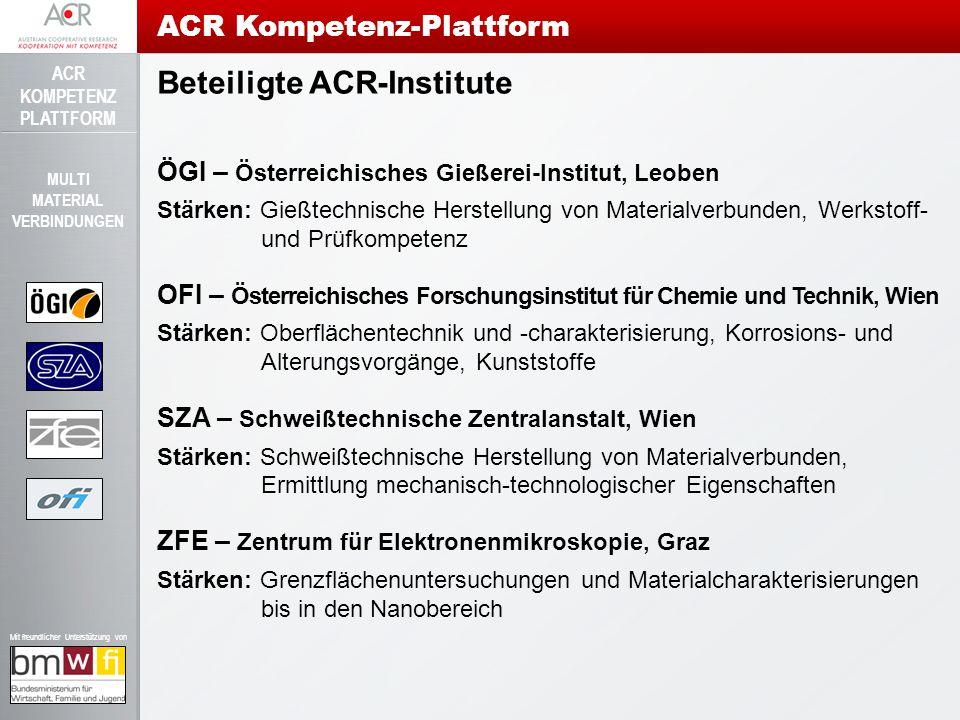 ACR KOMPETENZ PLATTFORM Mit freundlicher Unterstützung von MULTI MATERIAL VERBINDUNGEN Projektaktivitäten ÖGI Schmelz-Schweißverbindungen Ziel: Charakterisierung von Multimaterial-Schweißverbindungen und Unterstützung in der Einführung von Mg-Blechen.