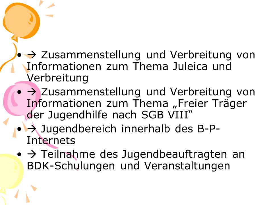 """ Zusammenstellung und Verbreitung von Informationen zum Thema Juleica und Verbreitung  Zusammenstellung und Verbreitung von Informationen zum Thema """"Freier Träger der Jugendhilfe nach SGB VIII  Jugendbereich innerhalb des B-P- Internets  Teilnahme des Jugendbeauftragten an BDK-Schulungen und Veranstaltungen"""