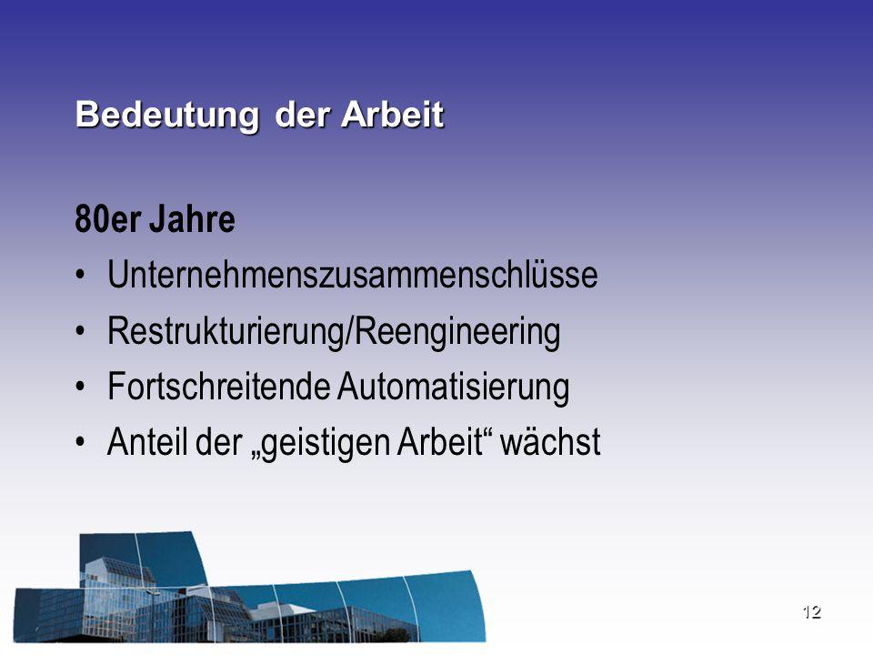 """12 Bedeutung der Arbeit 80er Jahre Unternehmenszusammenschlüsse Restrukturierung/Reengineering Fortschreitende Automatisierung Anteil der """"geistigen A"""