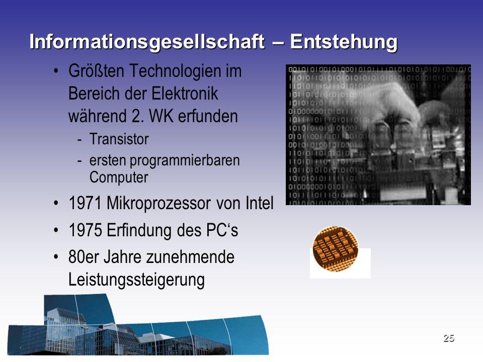 25 Informationsgesellschaft – Entstehung Größten Technologien im Bereich der Elektronik während 2. WK erfunden -Transistor -ersten programmierbaren Co
