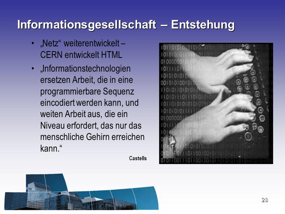 """28 Informationsgesellschaft – Entstehung """"Netz"""" weiterentwickelt – CERN entwickelt HTML """"Informationstechnologien ersetzen Arbeit, die in eine program"""