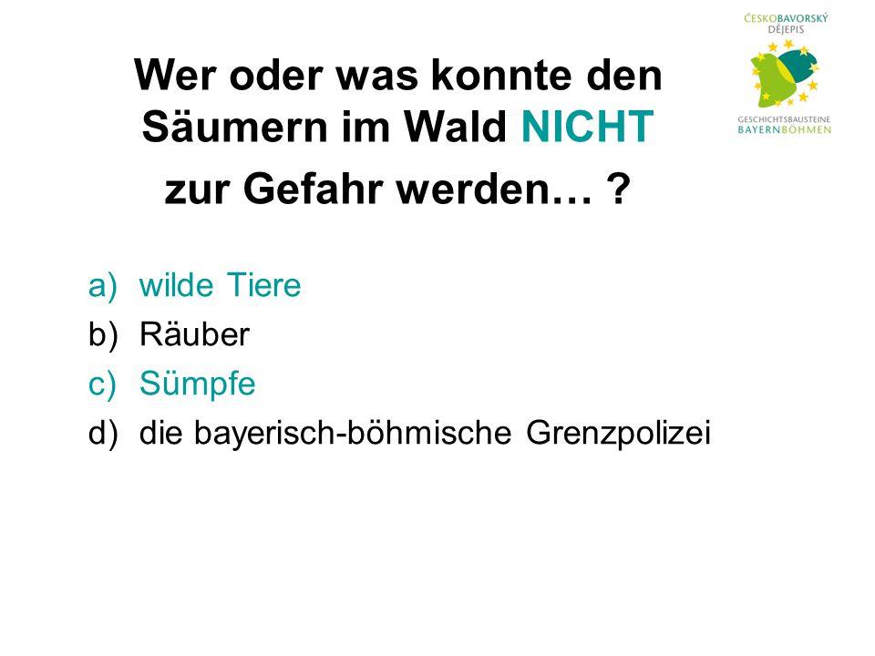 a)wilde Tiere b)Räuber c)Sümpfe d)die bayerisch-böhmische Grenzpolizei