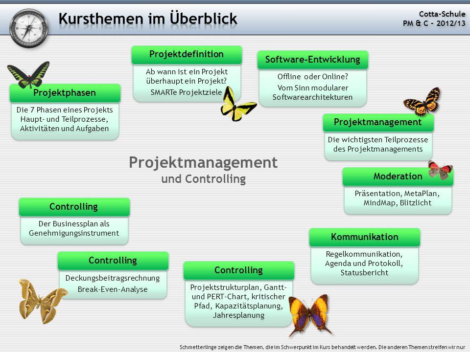Fazit: Von der Idee über eine Mind-Map zum Projektstrukturplan Mind-Map (oder auch MetaPlan) Strukturplan Cotta-Schule PM & C – 2012/13 Cotta-Schule PM & C – 2012/13