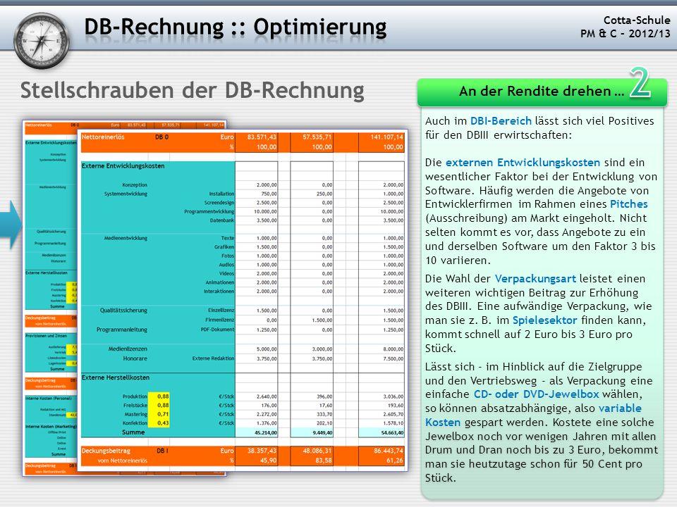 Cotta-Schule PM & C – 2012/13 Stellschrauben der DB-Rechnung Auch im DBI-Bereich lässt sich viel Positives für den DBIII erwirtschaften: Die externen
