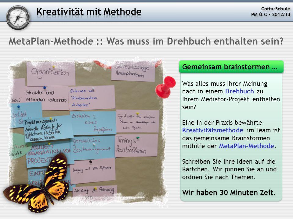 Was alles muss Ihrer Meinung nach in einem Drehbuch zu Ihrem Mediator-Projekt enthalten sein? Eine in der Praxis bewährte Kreativitätsmethode im Team