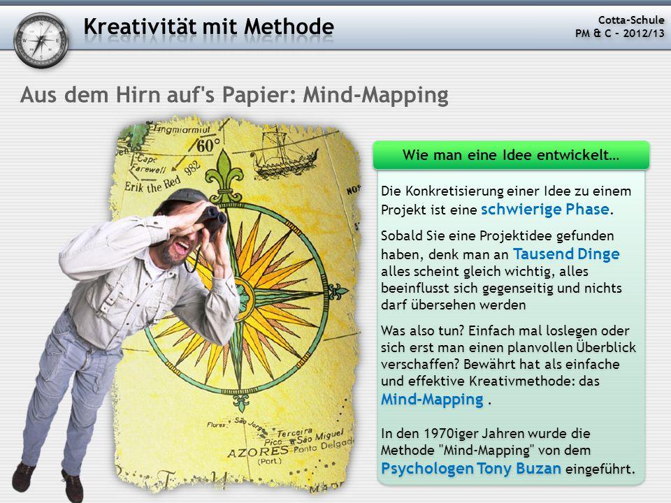 Aus dem Hirn auf's Papier: Mind-Mapping Die Konkretisierung einer Idee zu einem Projekt ist eine schwierige Phase. Sobald Sie eine Projektidee gefunde