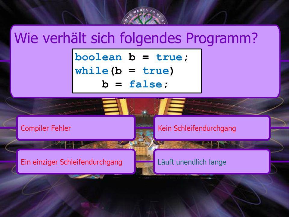 Ein einziger SchleifendurchgangKein SchleifendurchgangCompiler FehlerLäuft unendlich lange Wie verhält sich folgendes Programm.