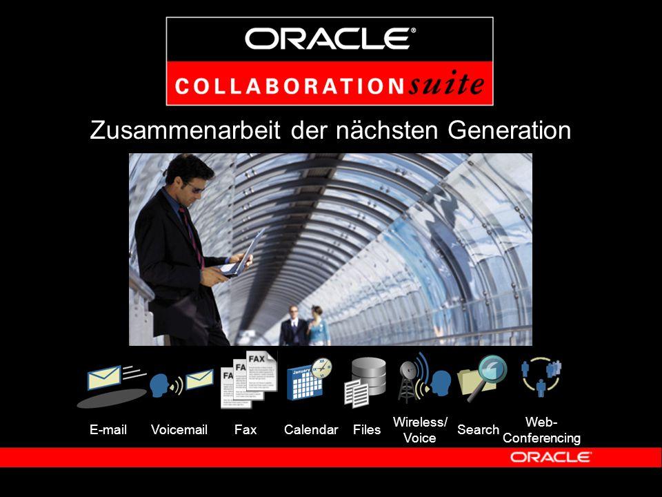 Oracle Web Conferencing  Operative Kosten reduzieren – Reisekostenreduktion durch Web Conferencing – Bessere Mitarbeiterproduktivität, höhere Kundentreue  Vereinfachung und Konsolidierung von Real- Time-Kommunikation – Reduktion von IT-Kosten – Betrieb der Lösung in-house möglich  Archivierung – Web Konferenzen lassen sich einfach archivieren und jederzeit wieder abspielen