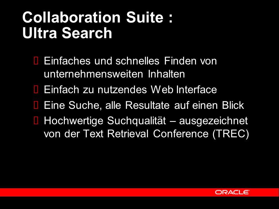 Collaboration Suite : Ultra Search  Einfaches und schnelles Finden von unternehmensweiten Inhalten  Einfach zu nutzendes Web Interface  Eine Suche, alle Resultate auf einen Blick  Hochwertige Suchqualität – ausgezeichnet von der Text Retrieval Conference (TREC)