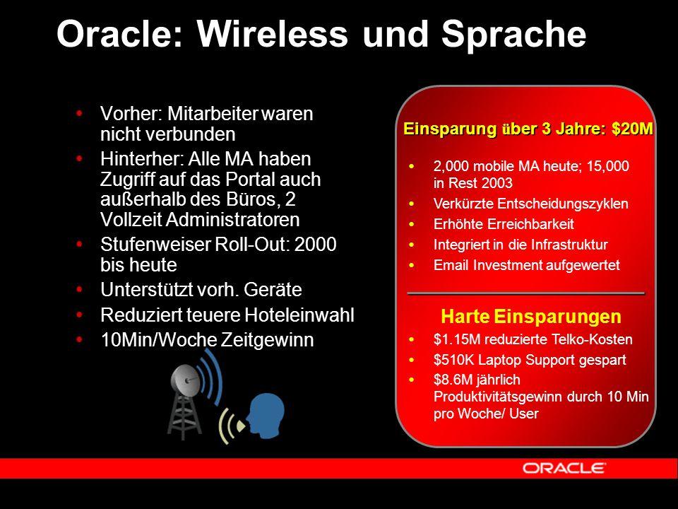 Oracle: Wireless und Sprache  Vorher: Mitarbeiter waren nicht verbunden  Hinterher: Alle MA haben Zugriff auf das Portal auch außerhalb des Büros, 2 Vollzeit Administratoren  Stufenweiser Roll-Out: 2000 bis heute  Unterstützt vorh.