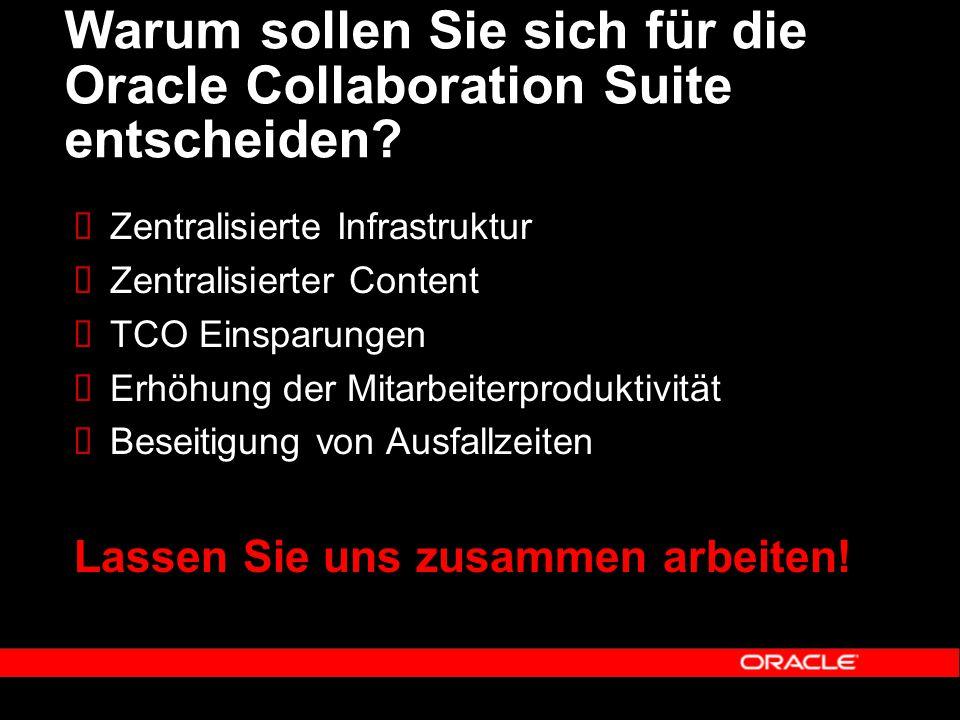 Warum sollen Sie sich für die Oracle Collaboration Suite entscheiden.