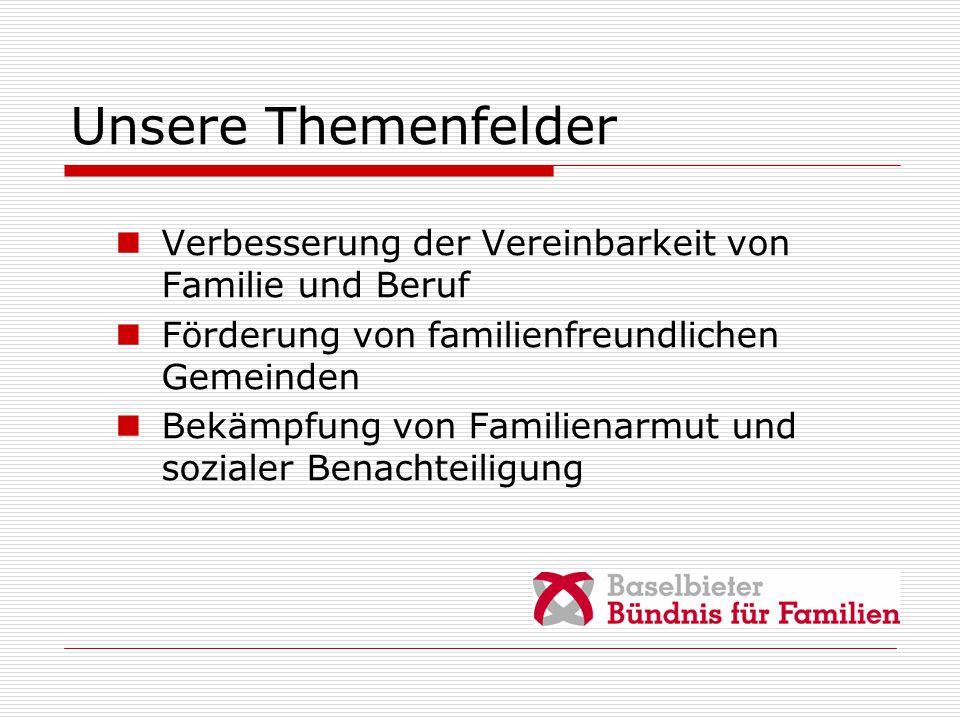 Unsere Themenfelder Verbesserung der Vereinbarkeit von Familie und Beruf Förderung von familienfreundlichen Gemeinden Bekämpfung von Familienarmut und sozialer Benachteiligung