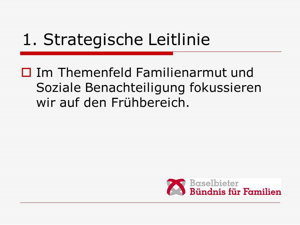 1. Strategische Leitlinie  Im Themenfeld Familienarmut und Soziale Benachteiligung fokussieren wir auf den Frühbereich.