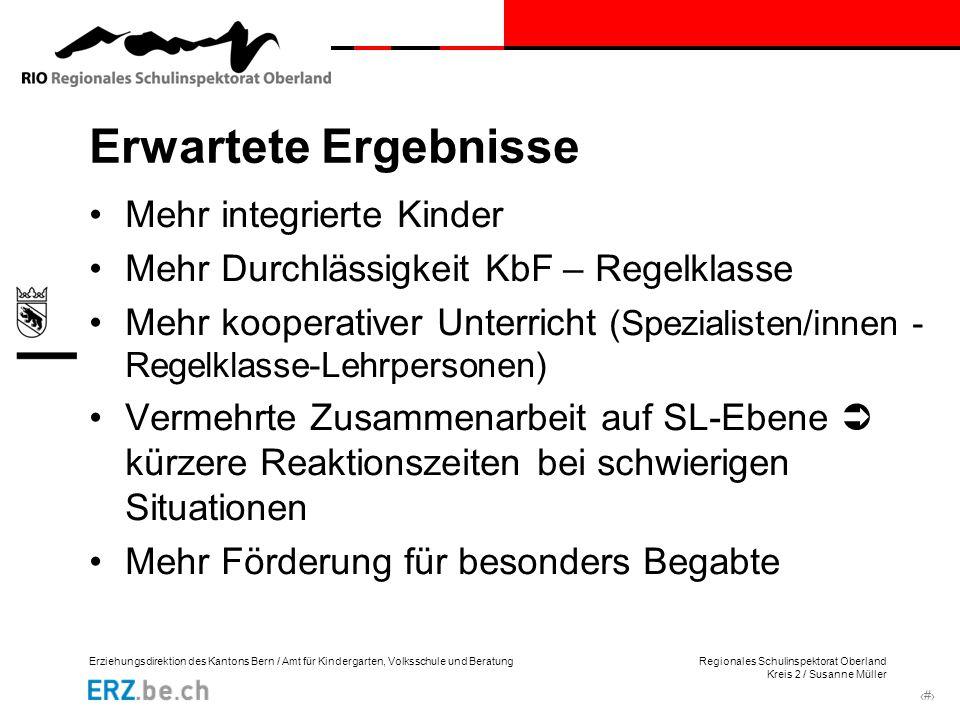 Erziehungsdirektion des Kantons Bern / Amt für Kindergarten, Volksschule und Beratung Regionales Schulinspektorat Oberland Kreis 2 / Susanne Müller ‹#