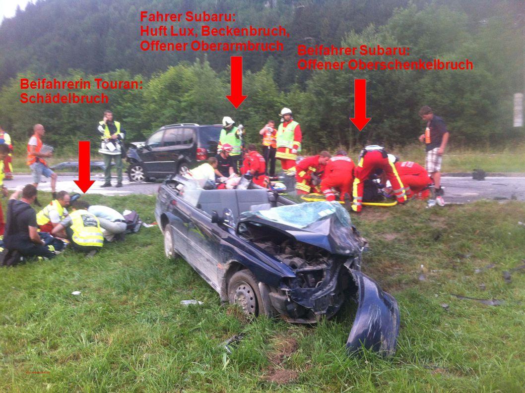 Beifahrerin Touran: Schädelbruch Fahrer Subaru: Huft Lux, Beckenbruch, Offener Oberarmbruch Beifahrer Subaru: Offener Oberschenkelbruch
