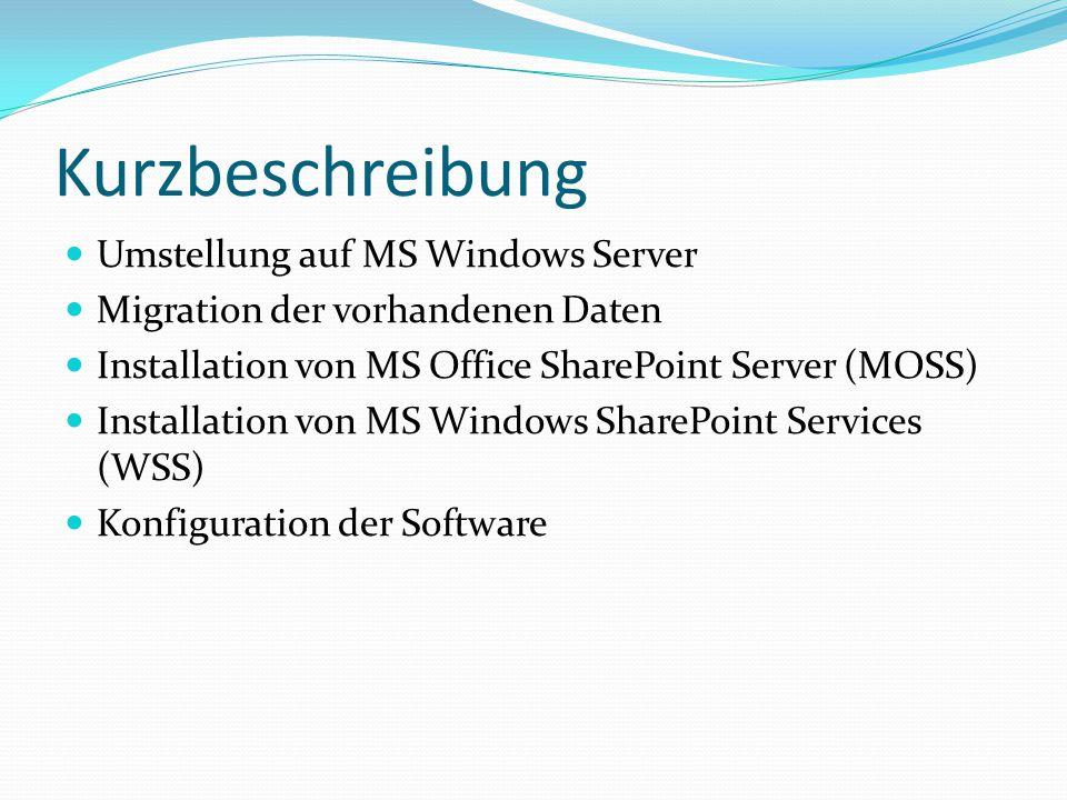 Kurzbeschreibung Umstellung auf MS Windows Server Migration der vorhandenen Daten Installation von MS Office SharePoint Server (MOSS) Installation von MS Windows SharePoint Services (WSS) Konfiguration der Software