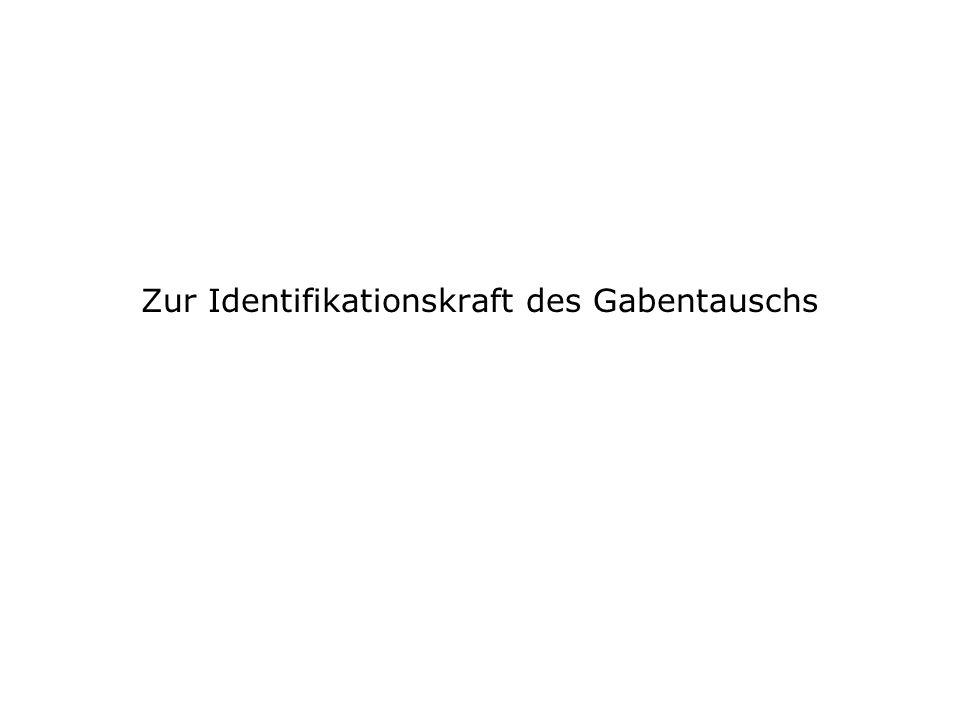 Zur Identifikationskraft des Gabentauschs