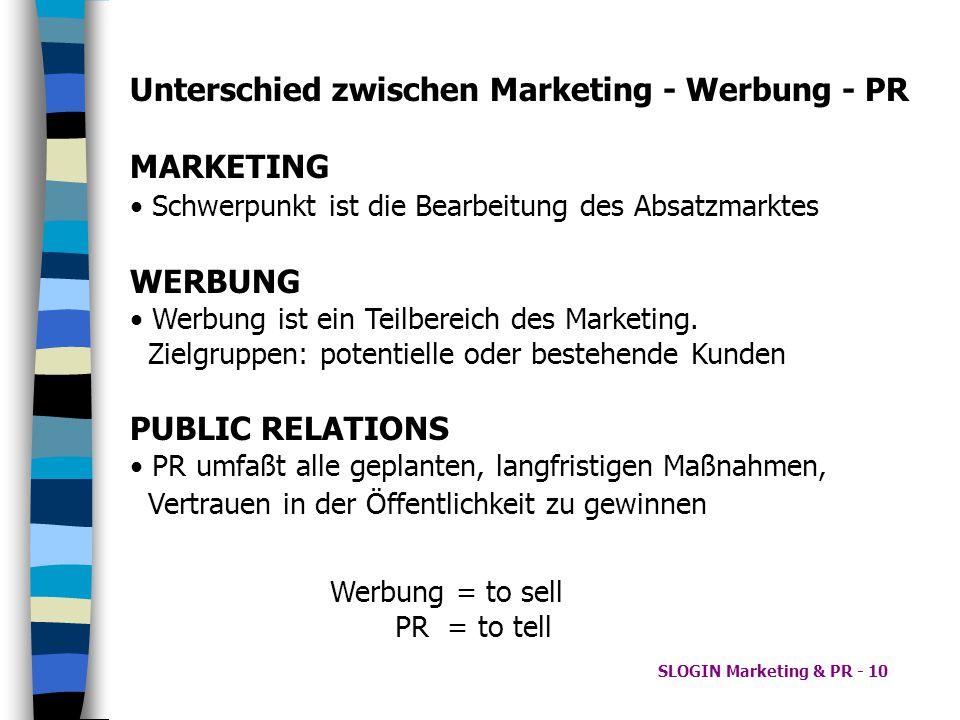 SLOGIN Marketing & PR - 10 Unterschied zwischen Marketing - Werbung - PR MARKETING Schwerpunkt ist die Bearbeitung des Absatzmarktes WERBUNG Werbung i