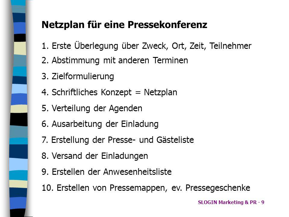 SLOGIN Marketing & PR - 9 Netzplan für eine Pressekonferenz 2. Abstimmung mit anderen Terminen 3. Zielformulierung 4. Schriftliches Konzept = Netzplan