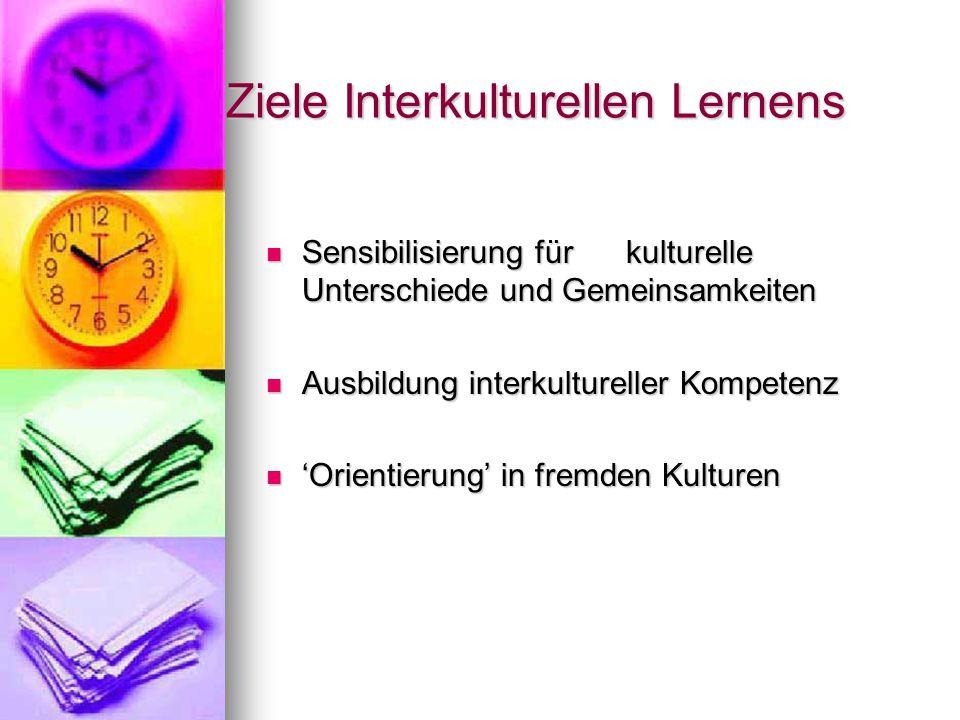Ziele Interkulturellen Lernens Sensibilisierung für kulturelle Unterschiede und Gemeinsamkeiten Sensibilisierung für kulturelle Unterschiede und Gemei