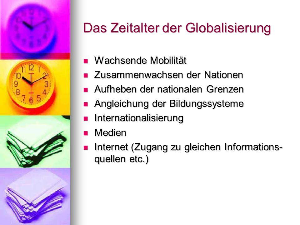 Das Zeitalter der Globalisierung Wachsende Mobilität Wachsende Mobilität Zusammenwachsen der Nationen Zusammenwachsen der Nationen Aufheben der nationalen Grenzen Aufheben der nationalen Grenzen Angleichung der Bildungssysteme Angleichung der Bildungssysteme Internationalisierung Internationalisierung Medien Medien Internet (Zugang zu gleichen Informations- quellen etc.) Internet (Zugang zu gleichen Informations- quellen etc.)