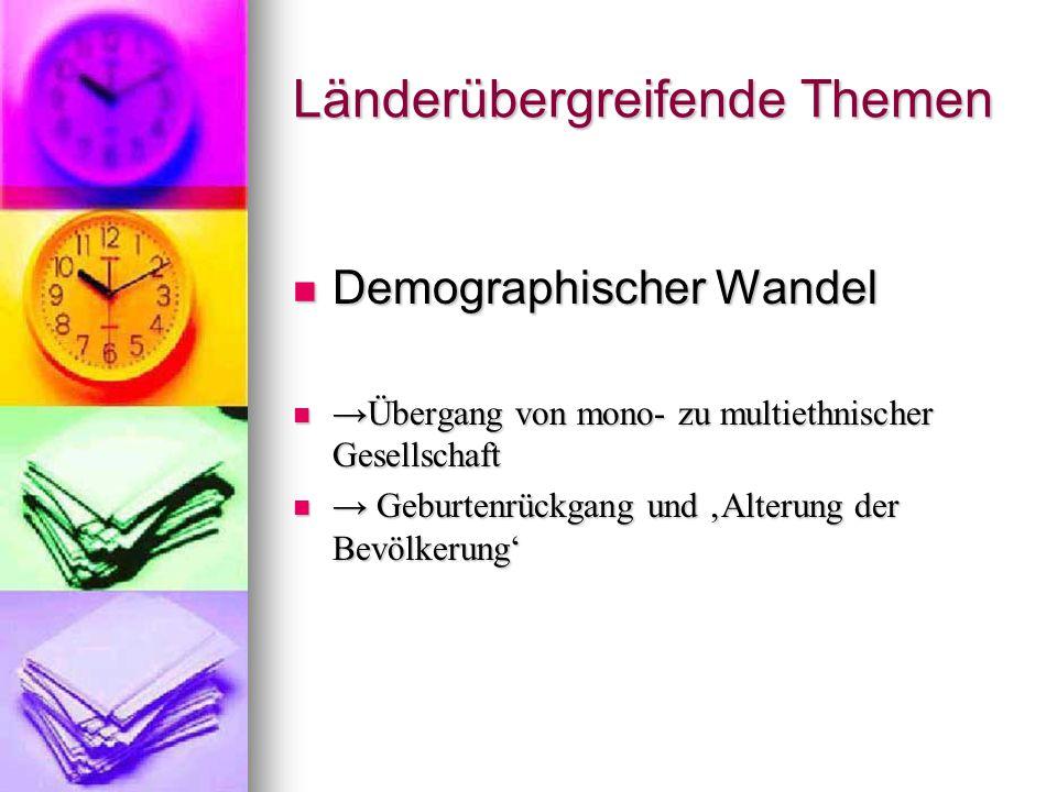 Länderübergreifende Themen Demographischer Wandel Demographischer Wandel →Übergang von mono- zu multiethnischer Gesellschaft →Übergang von mono- zu mu