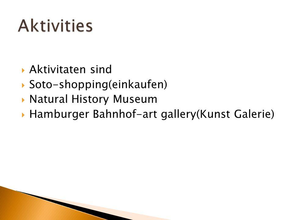 Aktivitaten sind  Soto-shopping(einkaufen)  Natural History Museum  Hamburger Bahnhof-art gallery(Kunst Galerie)