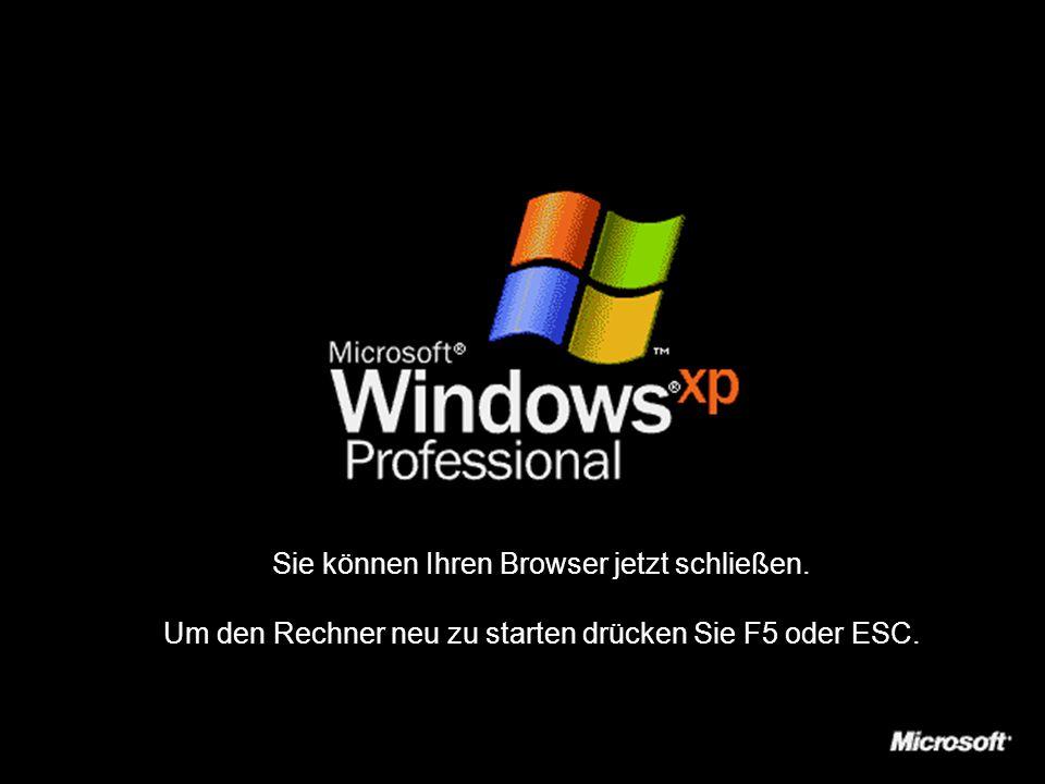 Einstellungen werden gespeichert…Server wird abgemeldet… Windows wird heruntergefahren…Netzwerkverbindungen werden getrennt…