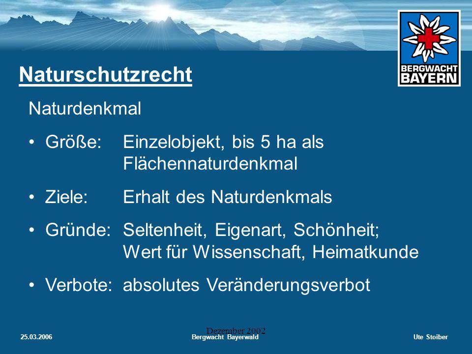 25.03.2006Bergwacht BayerwaldUte Stoiber Dezember 2002 Naturschutzrecht Naturpark Größe:großräumig (ca.