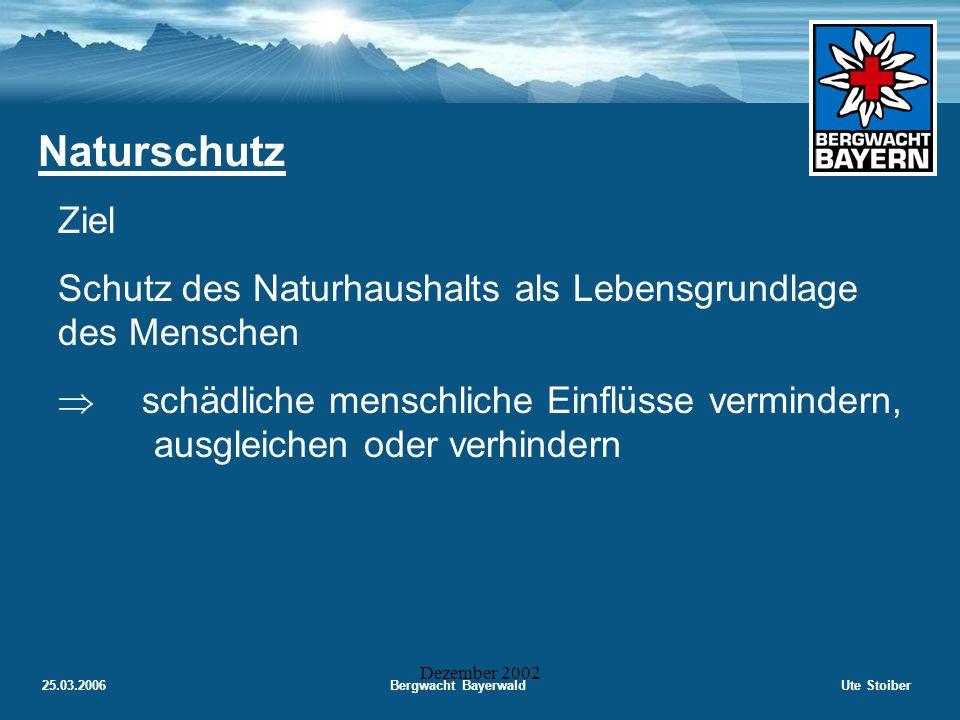25.03.2006Bergwacht BayerwaldUte Stoiber Dezember 2002 Naturschutz Erhaltung und Wiederherstellung der Leistungsfähigkeit des Naturhaushalts